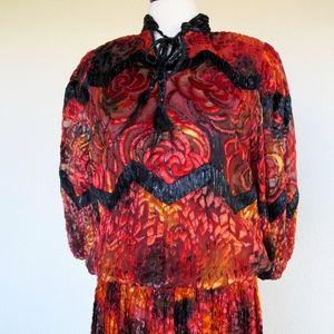 Diane Freis NOS Silk Velvet Rose Fiery Fall Orange